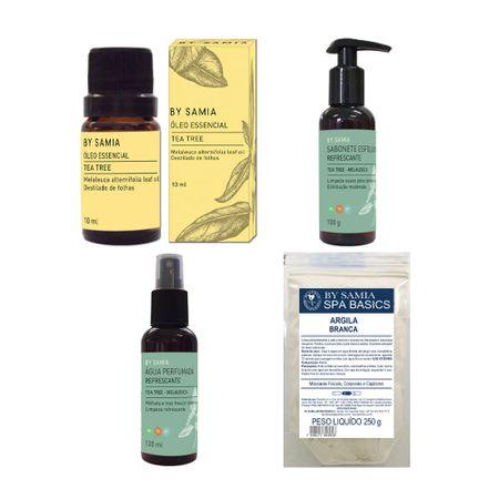 kit-presente-bysamia-aromaterapia-argila-branca-oleo-essencial-tea-tree-shower-gel-esfoliante-agua-perfumada-refrescante